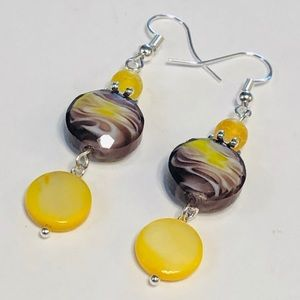 Lampwork, Agate, & Mother-of-Pearl Earrings